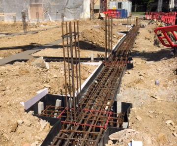 Raft foundation footings