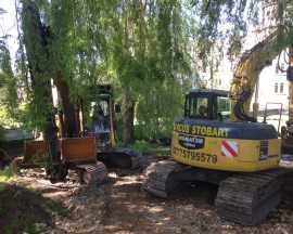 Marcus Stobart's excavators clearing a pond